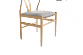 Silla riga tapizado gris estructura metalica simil madera