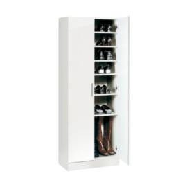 Armario zapatero blanco con estantes interiores.