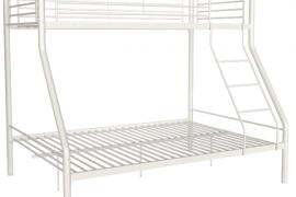 Litera familiar blanca modelo Bilbao acabado en tubo metálico con cama inferior de 135*190 y superior de 90*190