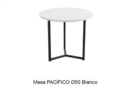 Mesa centro pacifico 50 soul blanco con estructura metalica negra