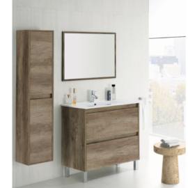 Columna de baño para colgar Dakota acabado en color nordik- ambiente junto al mueble de baño con espejo Dakota