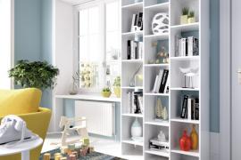 estantería alta buk de diseño irregular con 15 huecos para almacenaje acabado blanco brillo-Ambiente