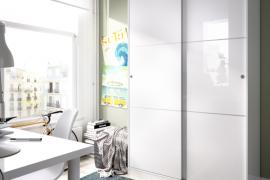 Armario 2 puertas slide plus de 120 cms de ancho y color blanco-brillo del programa DEKIT del Grupo Rimobel