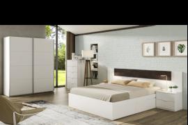 Dormitorio Noon acabado Blanco artik combinado color oxido-Cabezal válido para cama de 150cm