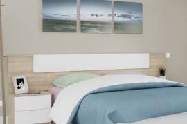 Dormitorio Noon Plus acabado Roble Canadian combinado color blanco artik -Cabezal válido para cama de 150 o 135 cm