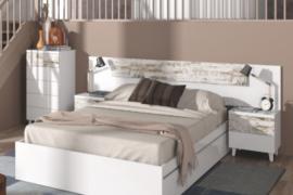 Dormitorio nordik acabado blanco brillo combinado color vintage.