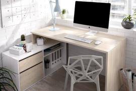 Mesa escritorio L Rox acabado natural combinado con el color blanco brillo-Bajo puesto a la izquierda de la mesa