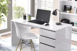Mesa escritorio Shiro con dos cajones y una puerta que pueden montarse tanto a la derecha como a la izquierda. Acabado en blanco brillo. Programa DEKIT del Grupo Rimobel