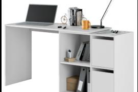 mesa escritorio gio buc derecho montada en linea. Acabado blanco artik