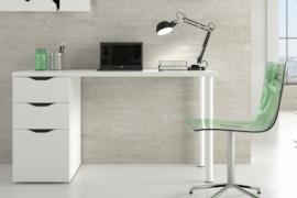 Mesa de escritorio Sansa acabado blanco artik, mesa con dos cajones y una puerta. Buc reversible