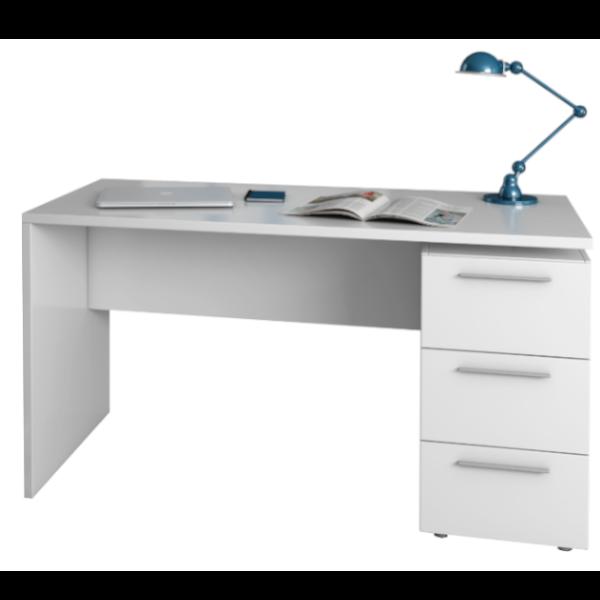 Mesa de escritorio Theon acabado blanco artik con 3 cajones