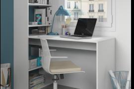 Mesa escritorio con estanteria Gio Plus reversible y acabado blanco artik