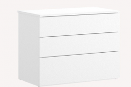 Mesita Alice 3 cajones acabado blanco, del programa DEKIT del Grupo Rimobel