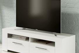Mueble TV Ambit con dos puertas y dos huecos superiores. Acabado Blanco Artik