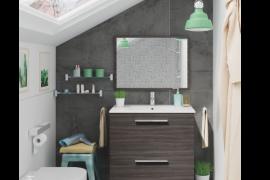 Mueble de baño con espejo y lavabo Urban Gris Ceniza