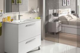 Mueble de baño con espejo y lavabo Urban Blanco brillo