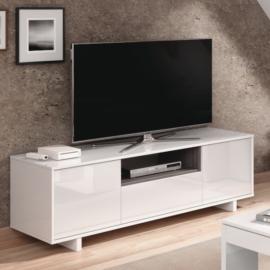Mueble TV Zaida con 3 puertas y un estante acabado blanco brillo y combinado con Gris ceniza en la parte central. Ambiente