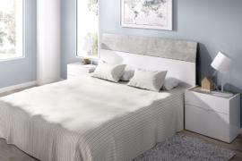 Dormitorio Gia acabado Blanco brillo combinado cemento-Cabecero con dos mesitas