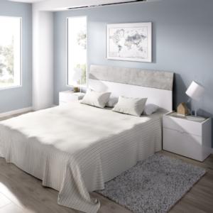 Dormitorio Gia blanco brillo combinado cemento