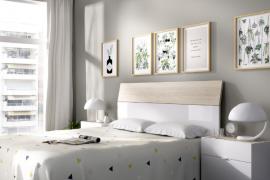 Dormitorio Gia acabado Blanco brillo combinado natural-Cabecero con dos mesitas