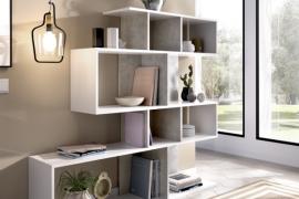 Estantería Lau de diseño, acabado blanco combinado con el color cemento