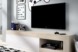 Bajo Tv Lebo acabado natural combinado blanco brillo con una puerta abatible. Programa Dekit del Grupo Rimobel