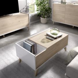 mesa centro elevable ness acabado blanco combinado natural.