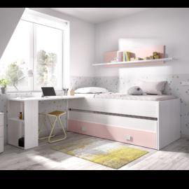 Cama Compacto Ocean con nido y cajón inferior, incluye estanteria de pared con trasera. Acabado Artic combinado con el color Rosa