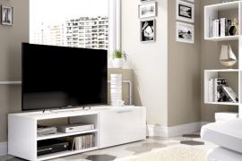 Bajo Tv Soho acabado blanco brillo con una puerta abatible y un estante. Programa DEKIT del Grupo Rimobel