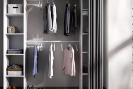 Armario vestidor Suit con cortina acabado blanco