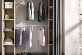 Armario vestidor Suit con cortina acabado natural
