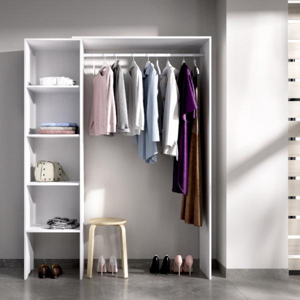 Vestidor Suit acabado blanco, con estanteria lateral y adaptable a la medida.