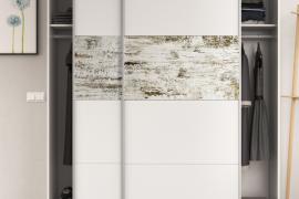 Armario Nordik blanco brillo combinado vintage con dos puertas correderas