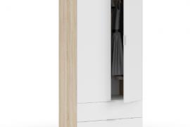 Armario Youth roble canadian-blanco artik con dos puertas y dos cajones