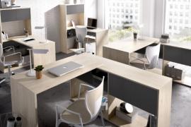Mesa escritorio Flexo montaje tipo L acabado natural combinado grafito