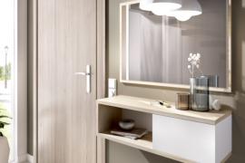 Recibidor Kam con consola colgada de una puerta y espejo, acabado natural combinado blanco