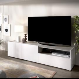 Modulo bajo tv kloe acabado blanco combinado cemento-