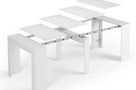 Mesa de comedor Funzionale consola Blanco-Brillo- detalle con todo el despliegue