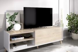 Mueble bajo TV Ness acabado blanco combinado natural.