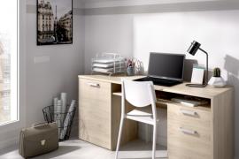 Mesa escritorio Rek con un cajón y dos puertas. Acabado natural