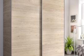 Armario Slide dos puertas correderas de 180 cm acabado color natural