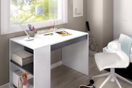 Mesa escritorio Teo con un cajón central y estanteria lateral, acabado blanco combinado color grafito