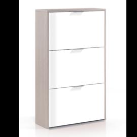 Zapatero Caprizzio 3 puertas abatibles acabado roble combinado blanco brillo