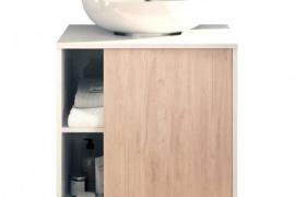 Mueble para lavabo con pedestal Sintra acabado blanco alto brillo combinado Aurora de Muebles Pitarch