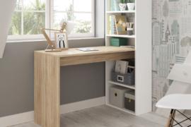 Mesa escritorio gio plus con estanteria reversible acabado blanco arkit-canadian