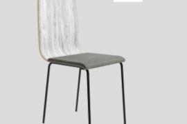 Silla Dubai Artic con respaldo de tablero contrachapado, asiento tapizado y patas metálicas de color negro del programa BOGAL de Muebles Azor