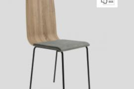 Silla Dubai Cambrian con respaldo de tablero contrachapado, asiento tapizado y patas metálicas de color negro del programa BOGAL de Muebles Azor