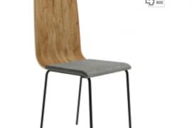 Silla Dubai Mango con respaldo de tablero contrachapado, asiento tapizado y patas metálicas de color negro del programa BOGAL de Muebles Azor