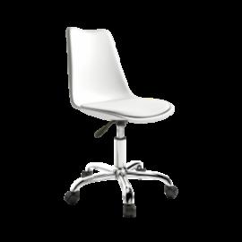 Silla bremen blanco de estructura de polipropileno, asiento de polipiel y pata cromada del programa Bogal de Muebles Azor
