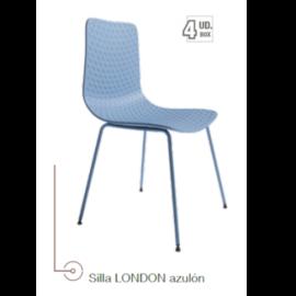 Silla London azulon acabado polipropileno con patas metálicas lacadas del mismo color, de Bogal